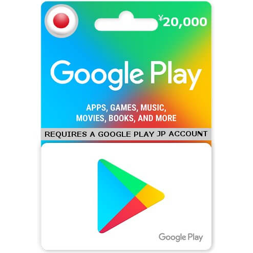 Google Play 20000 Yen Gift Card for Japanese Account