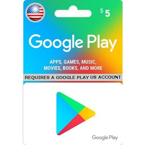 Google Play 5 USD Gift Card for US Account