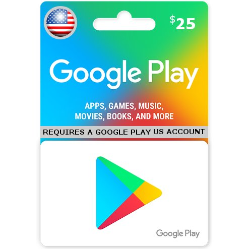 Google Play 25 USD Gift Card for US Account